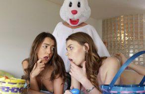 Polvazo con su hermana y amiga disfrazado de conejito de Pascua