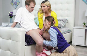 Madre viciosa enseña a sus hijos a follar sin descanso