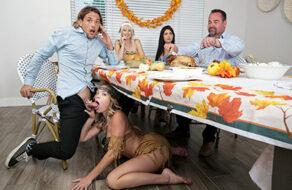 Katie Kush y su hermana se follan a su primo en una comida familiar